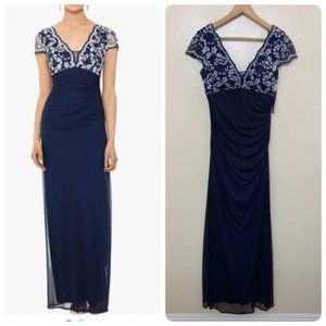 Betsy Adam Gown Navy Lace Ruched Padded V Neck